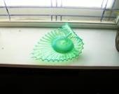 Fostoria Heirloom Green Opalescent Glass Handled Candy Dish Bon Bon Vintage 1960s