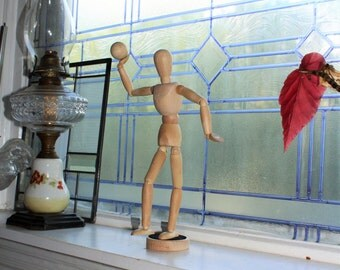 Vintage Articulated Wooden Artist's Figure Doll Mannequin with Ball and Stand Magnetic Hands and Feet