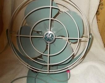 G E Fan Vintage General Electric Desk Fan Turquoise Table Fan 1950's Working Fan Tilting Fan