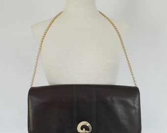 ART DECO VIBES .  Leather Bag Clutch Convertible Quality Genuine Leather 50s Dark Chestnut Brown Golden Buckle Metal Shoulder Strap-Chain