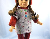 18 Inch Doll Clothes - Dotted Knit/Fleece Tunic, Hat and Leggings - Will Fit American Girl Dolls