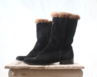 Vintage Salvatore Ferragamo Mink Trimmed Suede Boots Sz 7.5