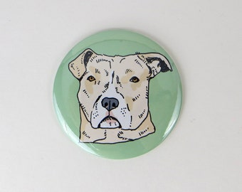 Blond pit bull dog magnet, tan pit bull button, pit bull magnet, pit bull gift
