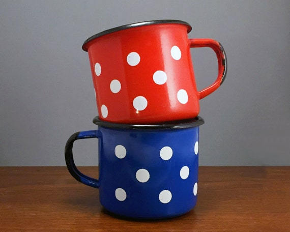 Enamel Mug Set Vintage Polka Dot Mugs Blue and Red Camping Mugs Enamelware Coffee Cups Pair of Mugs His and Hers Mug Set Couples Gift