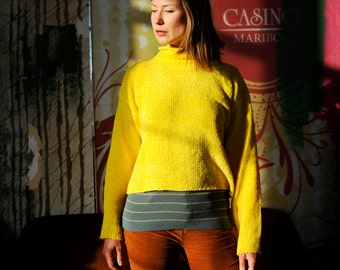 Yellow Fuzzy Knit Cropped Turtleneck Sweater