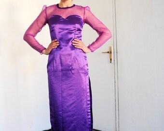 Vintage Purple Satin Strapless Sweetheart Bodice Sheer Organza Long Sleeve Party Dress