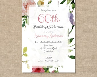 Birthday Party Invitation 40th, 50th, 60th, 70th, 80th, 90th, 100th - Vintage Rose, Floral Watercolour - Digital file