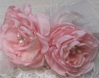 PINK GARDEN ROSES Romantic Vintage Chic Headband Bridal Wedding Handmade Fabric Roses Bridemaids Flowergirls Special Occassion Formal Prom