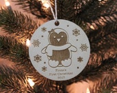 Little penguin baby's first Christmas ornament