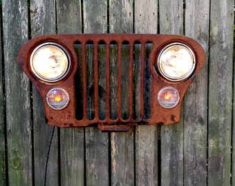 Upcycled Vintage Jeep Grille Lighted Wall Decor
