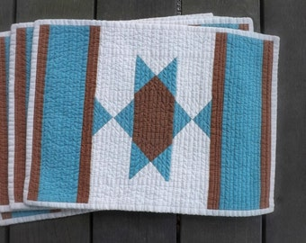 Turquoise Southwest Star quilted placemats (set of 4) Texas Country western Mexican Indian horse blanket farmhouse Americana casual dining