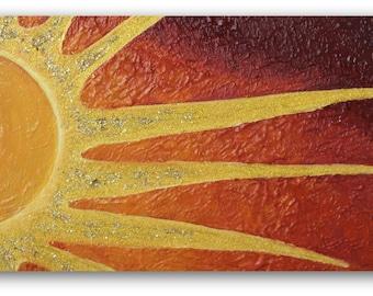 Sunset Painting, Daystar, Solar, Daylight, Volcano, Magma, Setting Sun, Nightfall, Dawn, Helios, Equinox, Celestial Equator, Textured Art