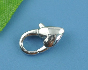 30 Heart Clasps - WHOLESALE - Antique Silver - 12x7mm - Ships IMMEDIATELY from California - FC139a