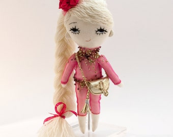 Fuchsia doll, stuffed doll, doll, art doll, rag doll, plushie, softie, plush doll, toy doll