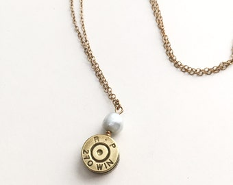 Bullet Casing Necklace, Pearl and 270 Rifle Casing, Womens Gift, Easter Mother's Day - Baby Blue 14k Gold Filled