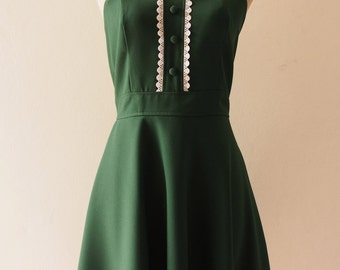 VIENNA - Forest Green Bridesmaid Dress, Fit and Flare Dress, Green Party Dress Vintage Inspired Forest Green Dress, Swing Dress-XS-XL,Custom
