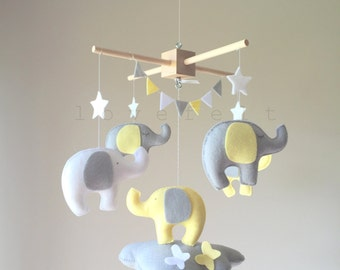 Baby Mobile - Cloud Mobile - Elephant Mobile  - Neutral Baby Mobile
