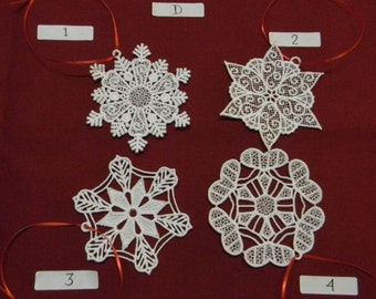 Lace Snowflake Ornaments (4), SET D , White, machine embroidered