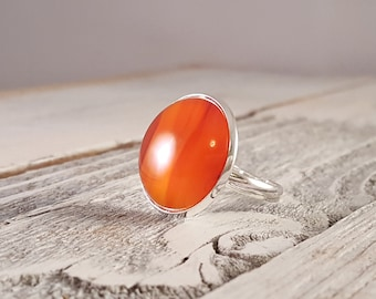 Sunset - Translucent Orange-Red Banded Natural Agate Dome Statement Ring