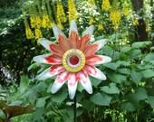 Garden and Yard sun catcher, Outdoor Art, repurposed glass garden plate sculpture