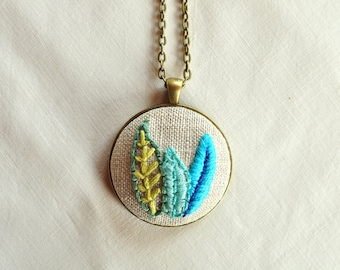 Blue Leaf Necklace, Hand Embroidery Pendant, Nature Necklace, Embroidered Jewelry, Jewelry Under 50, Leaf Pendant Necklace with Leaves,