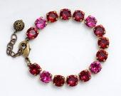 Hot Pink Rhinestone Bracelet, Fuchsia Crystal Tennis Bracelet, Red Rhinestone Jewelry, Nickel Free Brass Bracelet Adjustable ss39, Desirae