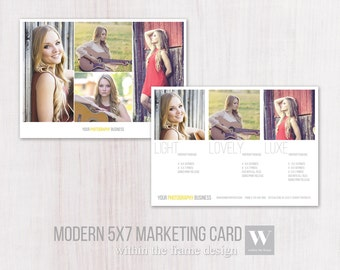 Sale! Photo 5x7 Marketing Card Photoshop Template, Modern Style, Instant Download, PSD Files, Photo Card Template, Photography, Grey, Yellow