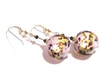 Murano Glass Pale Pink Leopard Coin Gold Earrings, Venetian Glass Jewelry, Italian Glass, lampwork Glass Earrings, Gold Filled Leverbacks