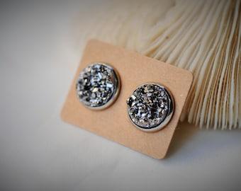 Stainless Steel Earring, GRAY Druzy Stud Earring ~ 13 mm - Girls / Casual / Chic