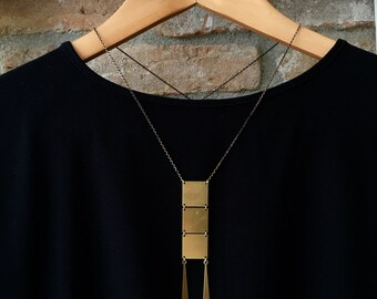Minimal necklace, long geometric brass necklace ,square pendant necklace brass necklace gold necklace