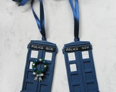 Doctor Who's Tardis, Polymer clay Christmas Ornament, Christmas Tardis, Tardis Christmas Decoration, Dr Who, Whovian Gift, Time travel