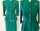Vtg '80s Does '40s Peplum Pencil Skirt Melissa 2pc Suit Avant Garde Blade Runner Retro Punk Geometric B&W Rayon Dupioni Teal Green Size 10