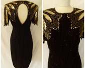 Dazzling Vintage '80s Stenay Beaded Sequin Evening Gown Glamorous '20s Inspired Silk Black and Gold Formal Wiggle Dress Size  S / M Small 6
