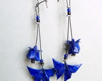 Dark blue Butterfly and Lotus flower Origami earrings