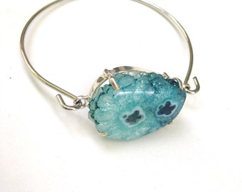 Turquoise Blue Druzy Bangle Bracelet, Solar Druzy Gemstone Bangle Bracelet, Gemstone Bracelet