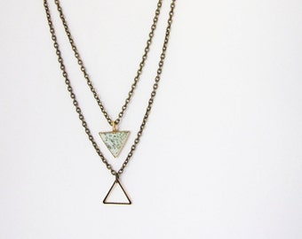 Geometric double chain necklace. Triangle necklace Mint necklace Multiple necklace Layering necklace