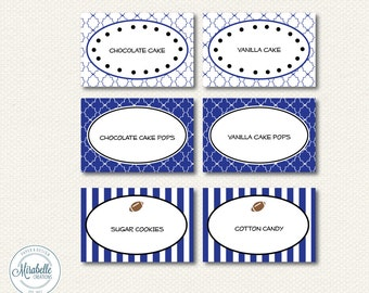 PRINTABLE Placecards / Fancy Labels -- Football Party Collection (Customizable) -- Mirabelle Creations