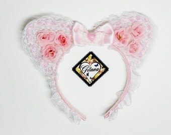 Lolita Headband- Lolita Accessories- Lolita-Girl headband- Cat ears- Cat Headband-Lolita Cat Headband-Pink-Fairy kei-lolita Fashion-harajuku