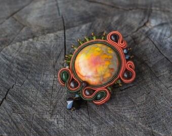 Soutache brooch orange green - soutache jewelry - olivine brooch soutage jewelry embroidered embroidery brooch - handmade brooch