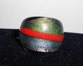 Green Orange and Blue Split Glass Ring