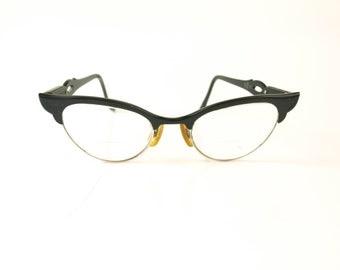 Vintage black metal girls or petite women's cateye eyeglasses frames