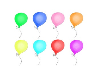 Balloon Clipart- Multi Colored Balloons - Birthday Balloons - Digital Clipart - PNG - JPG - Hand Drawn - Limited Commercial