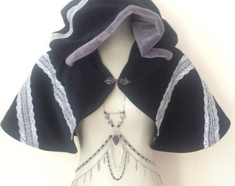 Dark Night Capelet - Woodland, Fairy, Priestess - Alternative Wedding Shawl - Black Moleskin + Gray Faux Fur Lined Hood Hoodie - SUPER SALE