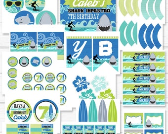 "Personalized Diy ""Sharks & Surfers"" Birthday Party Digital Printable Party Package"