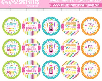 "INSTANT DOWNLOAD Candy ""Sweet Shoppe"" 4x6"" 1"" Inch Bottle Cap Image/Digital Collage Sheet"