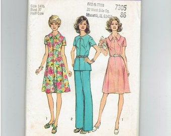 Simplicity Pattern 6342 Dress or Top and Pants Size 141/2 Half Size Look Slimmer
