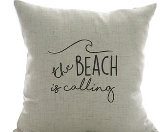 Handpainted 18 x 18 Beachy Throw Pillow cover - The beach is calling - decorative - beach house - ocean - gift - housewarming - beach decor