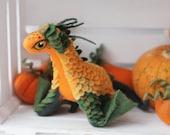 Pumpkin wyvern, needle felted dragon toy, fantasy dragon figurine