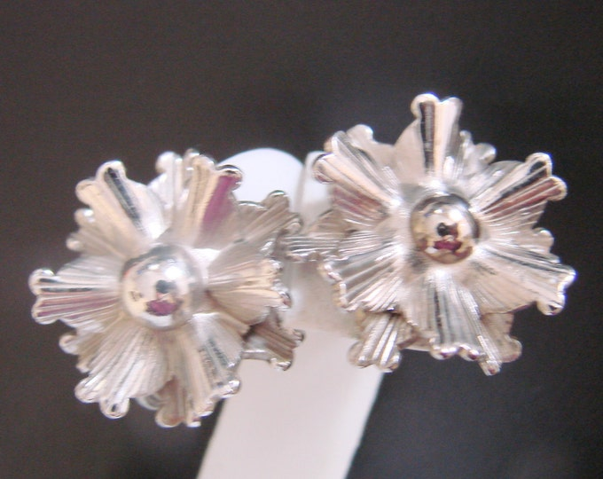 Vintage Marino Designer Signed Chrome Abstract Earrings / Screw Backs / Jewelry / Jewellery