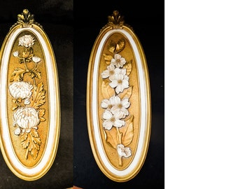 2 Floral Wall Plaques Syroco Nos 7315 & 7316 c1974 Dogwood Chrysanthemum